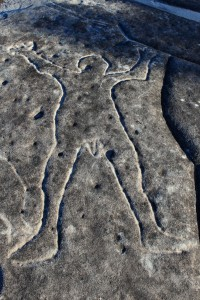 Basin Track - an engraving of a male figure