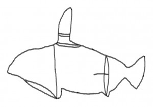 North West Ridge - an outline of an engraving of an orca